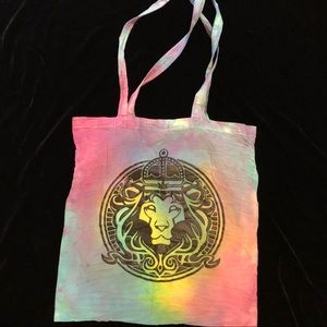 Handbags - Tie dye rainbow tote bag purse lion Leo sign rave